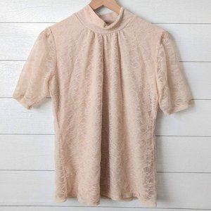 Shannon Ford NY Cream Lace Mock Neck Blouse L